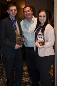Bellevue DECA students Keith Monaghan and Olivia Wright win the Washington state championship in Financial Statement Analysis