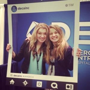 Tana Rulkova and Susan Petris of Bellevue DECA having fun at the Collegiate DECA 2015 ICDC in Orlando, Florida