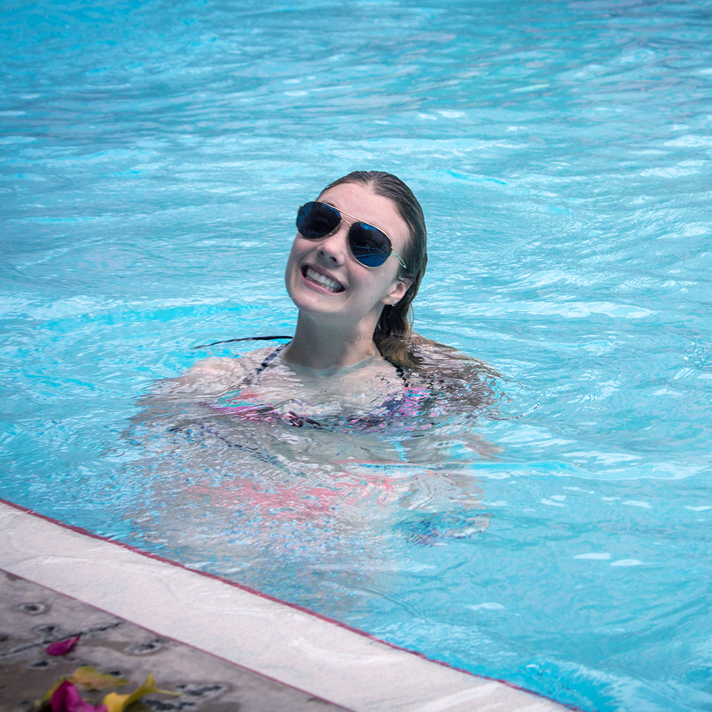 Hitting the pool to relax after competition.